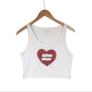 Equality pride heart white red tank crop top small